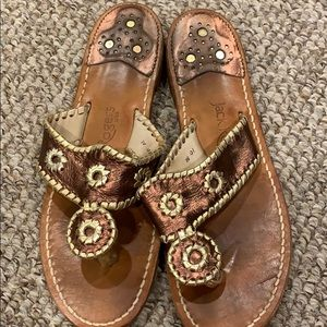 Jack Rogers Bronze and Gold Sandals women's 10